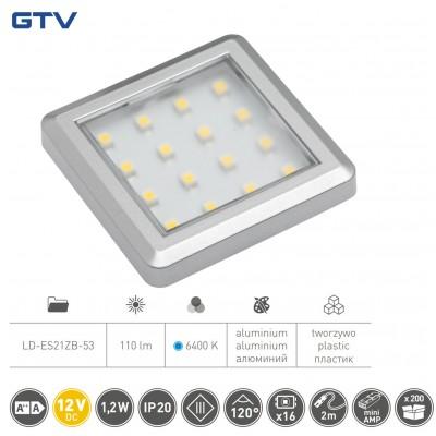Светильник LED квадратный Estella, 12V DC, 1.2W, 16 SMD3528 x / б, серый - LD-ES21ZB-53