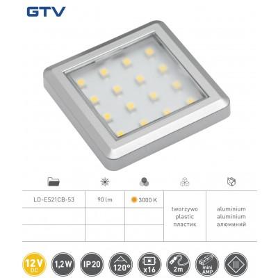 Светильник LED квадратный Estella, 12V DC, 1.2W, 16 SMD3528 т / б, серый - LD-ES21CB-53