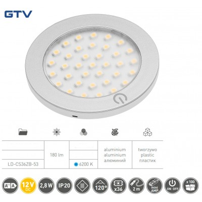 Светильник LED Castello с включателем 12v DC, 36 Smd3528, 200см провод с miniamp х / б, серый - LD-CS36ZB-53
