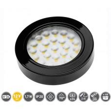 Светильник LED Врезной / накладной Vasco, 12V DC, 24 SMD3528, 200см провод с miniAMP х / б, черный