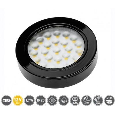 Светильник LED Врезной / накладной Vasco, 12V DC, 24 SMD3528, 200см провод с miniAMP х / б, черный - LD-VA24ZB-20