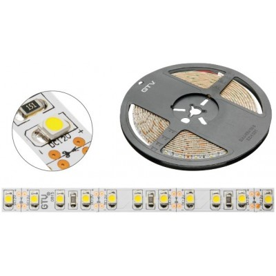 Лента светодиодная Flash 3528 (120 диодов на 1м, холодный белый, 48W, без силикона, 8 мм, бухта 5 м) - LD-3528-600-20-ZB