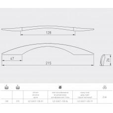 Ручка GTV EAST 128 мм Серый матовый