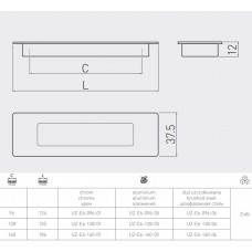 Ручка врезная GTV UZ-E6 128 мм Сталь