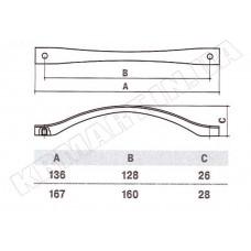 Ручка D-1003-128 MOC для мебели матовый старый хром