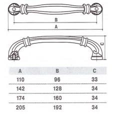 D-1014-160 MAN Ручка для мебели матовый античный никель