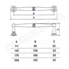 D-1015-160 MAN Ручка для мебели матовый античный никель