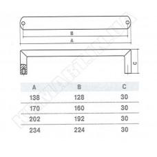 Ручка SS-1022-224 SS для мебели из нержавеющей стали