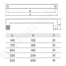 Ручка SS-1024-224 SS для мебели из нержавеющей стали
