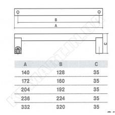 SS-1026-160 SS Ручка для мебели из нержавеющей стали
