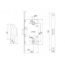 P-2056 SN механизм для дверей под WC матовий никель