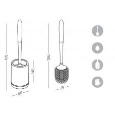 Ершик для унитаза напольный BP-13 пластиковый белый / серый