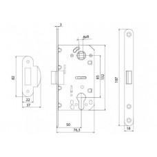 P-2056C SN механизм для дверей под цилиндр матовий никель