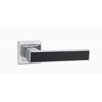 A-2015 MC + black ручка для дверей на розетке матовый хром с черной вставкой - a-2015_mc-black