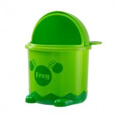 Мусорное ведро детское с крышкой лягушка BIN-07 1,2L зеленое