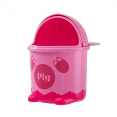 Мусорное ведро детское с крышкой свинка BIN-07 1,2L розовое