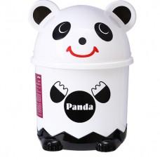 Мусорное ведро детское с крышкой панда BIN-07 1,2L белое