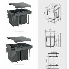 Сегрегатор GTV для кухонных шкафов 400 мм 2х20л с креплением Графит