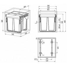 сегрегатор для кухонных шкафов 600 мм 2 х 34 л с креплением