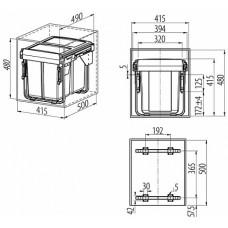 сегрегатор для кухонных шкафов высокий 450 мм 2 х 20 л