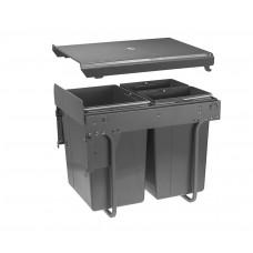 Сегрегатор GTV для кухонных шкафов высокий 450 мм 20 + 2х10 л с креплением Графит