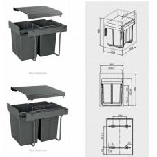 Сегрегатор GTV для кухонных шкафов 400 мм 20 + 20 л Графит
