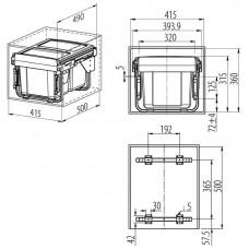 Сегрегатор для кухонных шкафов низкий 450 мм 2 х 15 л