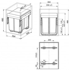 сегрегатор для кухонных шкафов 400 мм 20 + 20 л