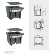 Сегрегатор GTV для кухонных шкафов высокий 450 мм 2х20л Графит